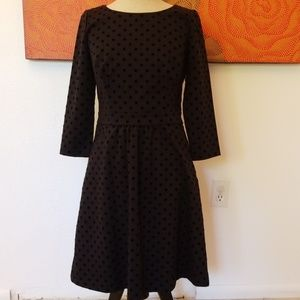 Boden velvet polka dot dress